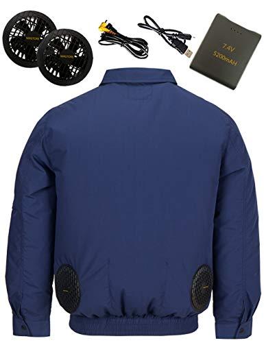 空調作業服 空調 服 作業服 長袖 バッテリー ファン セット 綿 空調ふく服 ワークマン 夏 ワークウェア ファン服 (ネイビー XL)