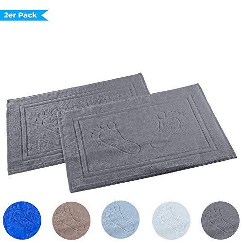 Dreamhome 2er Pack Badvorleger Badematte Badteppich Badgarnitur Vorleger Duschvorleger 50 x 70cm 100% Baumwolle, Dichte 740 g/m², Farbe:ANTHRAZIT