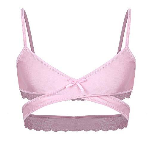 Ligas Y Ligueros para Mujer Lencería Sissy para HombreSexyAjustablecon Tirantes FinosCruzado por Encima De La EspaldaSin ArosSin RellenoTopsBralette Transpirable-Pink_L