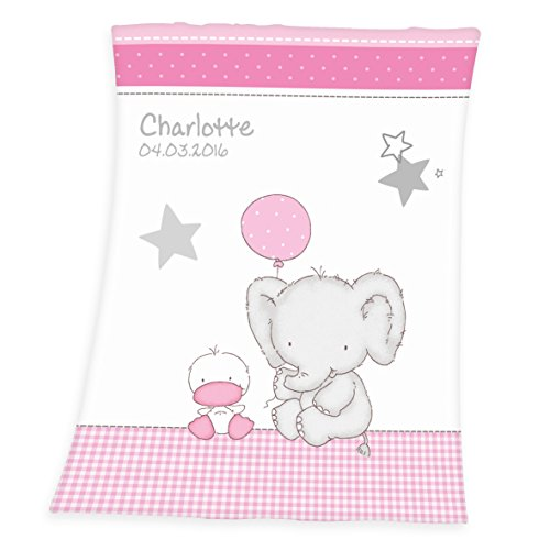 Wolimbo Flausch Babydecke mit Ihrem Wunsch-Namen und Ballon Elefant Ente Motiv - personalisierte / individuelle Geschenke für Babys und Kinder zur Geburt, Taufe und Geburtstag - 75x100 cm für Mädchen und Jungen
