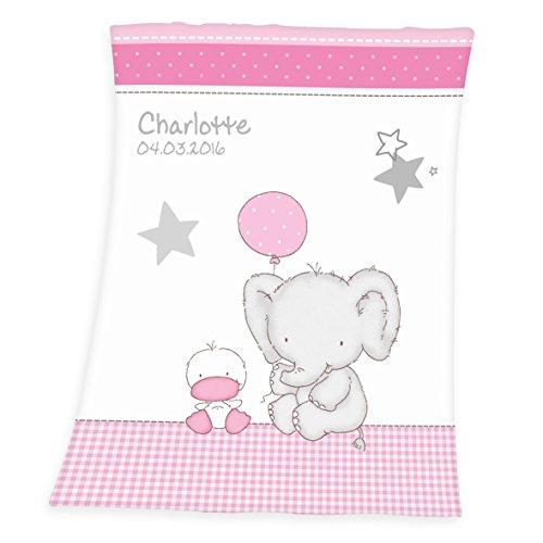 *Wolimbo Flausch Babydecke mit Ihrem Wunsch-Namen und Ballon Elefant Ente Motiv – personalisierte / individuelle Geschenke für Babys und Kinder zur Geburt, Taufe und Geburtstag – 75×100 cm für Mädchen und Jungen*