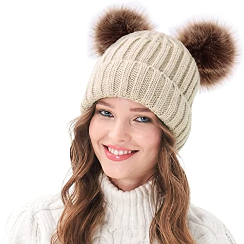 Arctic Paw Beanie for Women Womens Winter Hats Cable Knit Pom Pom Beanie with Faux Fur Ears Beige