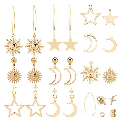 SUNNYCLUE DIY 18K Chapado En Oro Star Moon Theme Kits Fabricación de Pendientes Sun Moon Star Charms Ganchos para Pendientes Latón Anillos Salto para Mujeres Principiantes