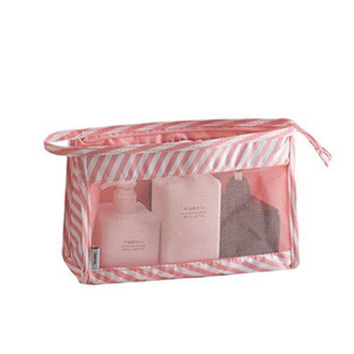 Trousse de Toilette Transparent Sac à Maquillage Imperméable Organisateur des Cosmétiques de Voyage Zipper Sac Pochette Grande Capacité Rose 2