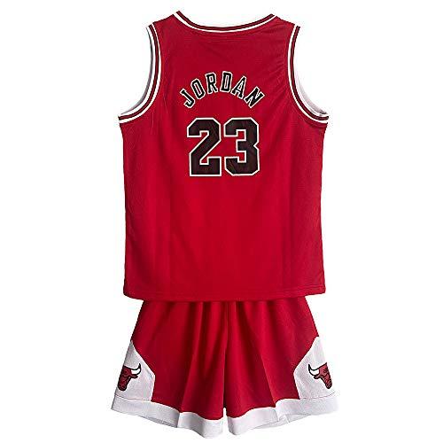 MASTERPETZ Jordán Jersey, 23, Niños Niñas Jerseys de Baloncesto Trajes de Verano Kits Top + Shorts (Rojo, Medium)