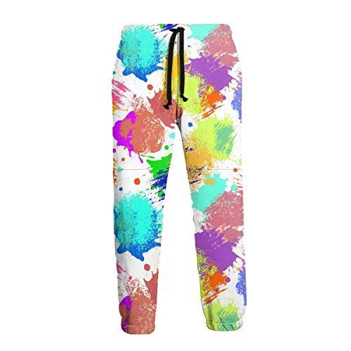 AEMAPE Color Acuarela Inkjets Pantalón de chándal S para Hombre Pantalón de chándal con Bolsillos