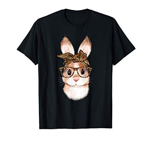 Nerd Osterhase Deko Leopard Brille & Bandana Hase Ostern T-Shirt