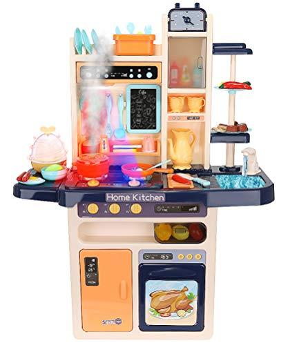 ISO TRADE XXL Spielküche Kinderküche Zubehör Funktion Wasserhahn Kaltdampf 65 Elemente 9571, Farbe:Dunkelblau