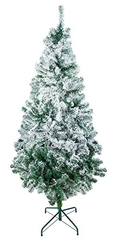 8-Foot UnLit Flocked Artificial Holiday Christmas Tree with Stand