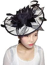 YSJOY Vintage Sinamay Feather Flower Fascinator Hat Two Way Wear Bridal Shower Hat Wedding Cocktail Tea Party Hat Church Kentucky Derby Hat Headwear Black