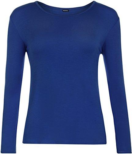 WearAll - Mujeres Manga Larga Camiseta Top - Azul Eléctrico - 40-42