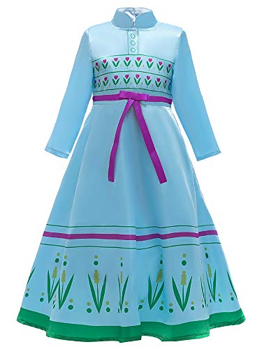 O.AMBW Disfraz de Princesa Anna Celebracin Aniversario Regalo Cumpleaos Hermana Reina Elsa Vestido Casual Primavera Verano Cosplay Carnaval Disfraz de Halloween con Accesorios para nias