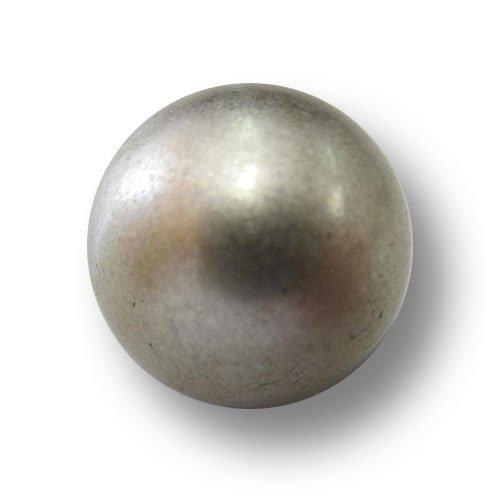 Knopfparadies - 6er Set sehr stark gewölbte Ösen Halbkugel Metall Knöpfe in Vintage-Optik/matt altsilberfarben, Vintage-Optik/Metallknöpfe/Ø ca. 18mm