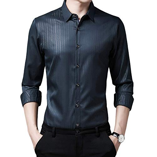 Camisas de Manga Larga para Hombres Impresión Personalizada Slim Regular Fit Solapa de Moda Camisas Informales de Negocios para jóvenes y de Mediana Edad 4X-Large