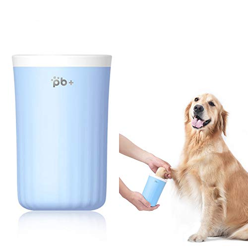Winderlife Tragbarer Pfotenreiniger für Hunde mit Silikon Reinigungsbürste, Pfoten Waschbecher für große, mittelgroße Hunde, schmutzige und schlammige Pfoten