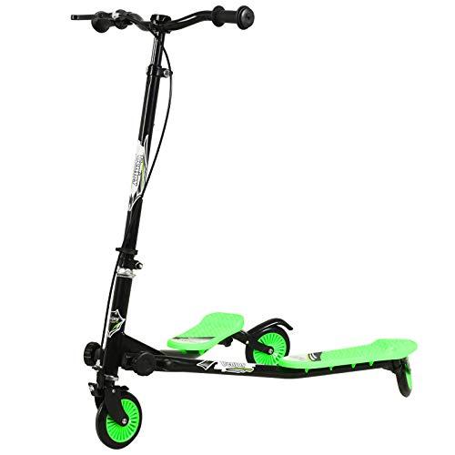 Uenjoy Patinete infantil oscilante de 3 ruedas, plegable, en Y Wiggle, de 3 niveles, altura ajustable, para niños a partir de 5 años, niñas y adultos, color negro y verde