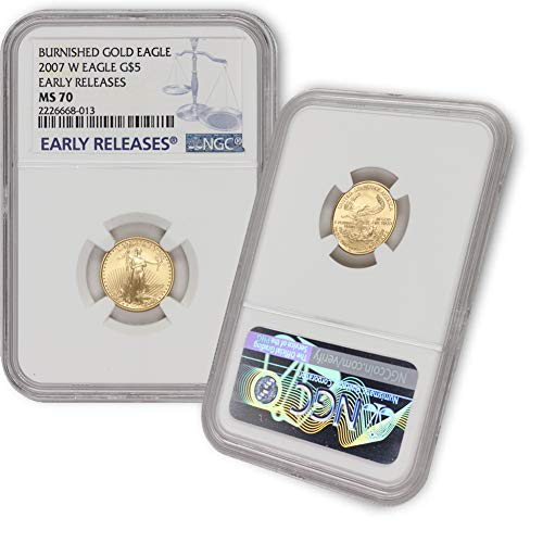 2007 W 1/10 oz Burnished Gold American Eagle MS-70 (Early Releases) by CoinFolio $5 MS70 NGC