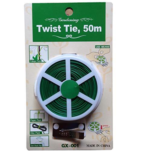 NICEXMAS 50M Twist Tie Groen Gecoate Tuinplant Banden Voor Tuinieren Kantoor Aan Huis Multifunctionele Groene Plastic Gecoate Draad