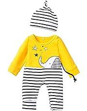 0-12 Meses,SO-buts Niño Recién Nacido Bebés Niños Stripe Patrón De Elefante De Dibujos Animados Sombrero De Cuello Redondo Mono De Una Pieza Mono De Mameluco