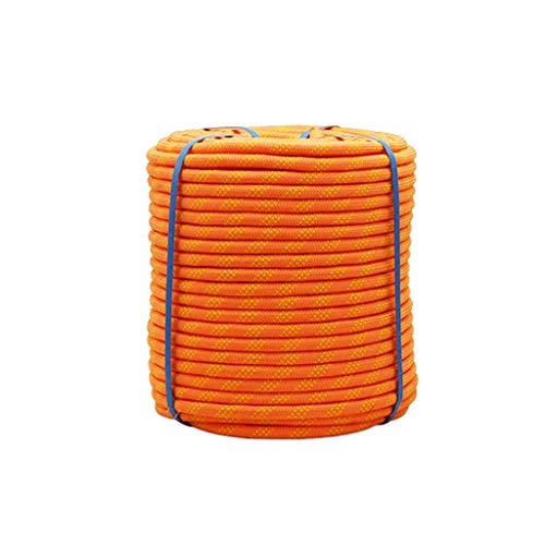 Cuerda de Seguridad Escalada Naranja 10m-100m Cuerda Escalada Al Aire Libre, Con 2 Mosquetón, Para Usos Al Aire Libre Supervivencia Emergencia, Camping Rescate Incendios Cuerda Escalada(10mm/12mm/14mm