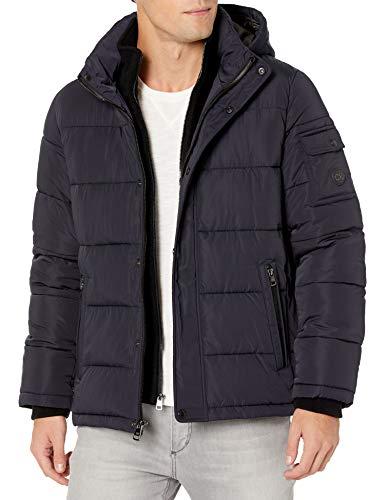 Calvin Klein Men's Hooded Alternative Down Puffer Jacket with Fleece Bib, Blue, Large