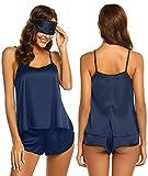 Ekouaer Womens Sexy Sleepwear Lingerie Satin Pajamas Cami Shorts Set Nightwear X,15-navy Blue,Medium