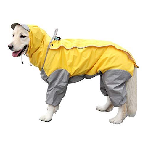 VICTORIE Impermeabile per Cani Poncho Antipioggia Neve Vestiti Mantellina Cappuccio Riflettente Regolabile per Piccolo Medie e Grandi Cani Animali Giallo 3XL (Taglia Produttore 22)