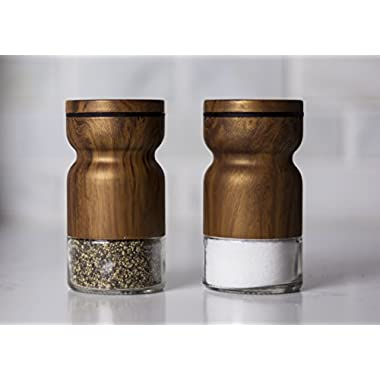 Salt and Pepper Shaker Set – with adjustable pour holes dispenser lids. Cute & elegant modern shakers, Stainless Steel metal with Glass bottoms. Easy fill & closable. (Walnut - Set of 2)