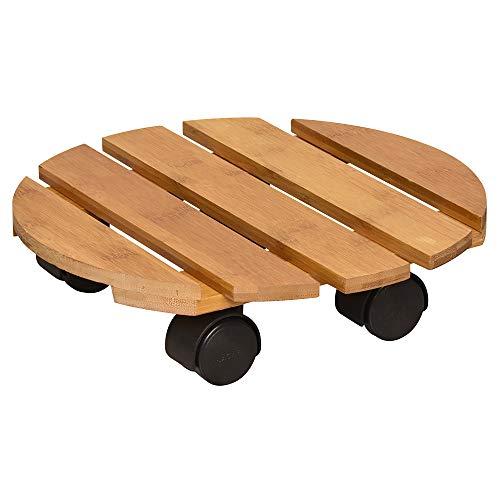 WAGNER Pflanzenroller Bamboo Ø 29 x 7 cm I Pflanzenroller für den Innenbereich, Bambusholz hell I Kübelroller aus Holz I Tragkraft 100 kg I Made in EU - 20026701