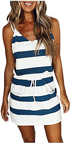 KMBANGI Women Summer Dress Sleeveless V Neck Spaghetti Strap Dresses Casual Stripe Drawstring Mini Dress(B-Dark Blue,M)