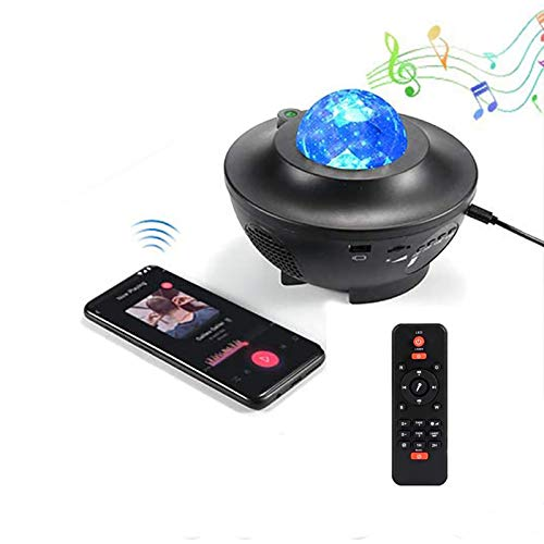 Nebula Sky Projector Stage Light, Wave Water Ripple Starlight Projector, Music Speaker Projector, Remote Control Night Light for Bedroom