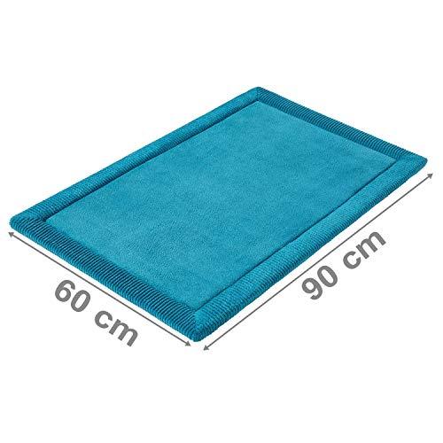 PANA Memoryschaum Badematte in versch. Farben | Badteppich aus weichen Mikrofasern - rutschfest & waschbar | Duschvorleger 60 x 90 cm