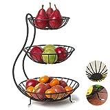 YYRZ Frutero De 3 Pisos Frutero con Piso De Metal, Soporte De Frutas con Cuencos Estantes, Fruteros De Cocina Negro Estilo, para Verduras Y Frutas Frescas