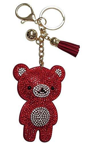 Joya bolsa, llavero pooh oso strass cristal rojo y blanco, acero plateado.