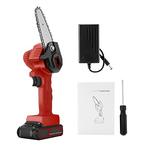 ETE ETMATE Mini Chainsaw, Electric Cordless Power Chainsaw, 4 Inch Portable Electric Pruning Saw Rechargeable 24V Lithium Battery Powered Tree Branch Pruner Garden Tool (Red)