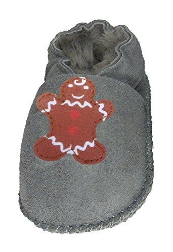 Plateau Tibet - Chaussons bébé avec doublure en VERITABLE laine d'agneau - bonhomme en pain d'épice - Gris, 30/31