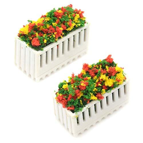 Julymall 2 arbustos de flores 1/12 casa de muñecas miniatura multicolor con maceta de madera, accesorios para casa de muñecas, estilo 2, 2,5 x 1,2 x 1,4 cm.