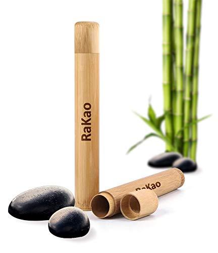 RaKao Zahnbürstenhülle aus Bambus-Hülle|Umweltfreundlich-Perfekt zum Reisen-Toothbrush case-Bamboo-Reise etui