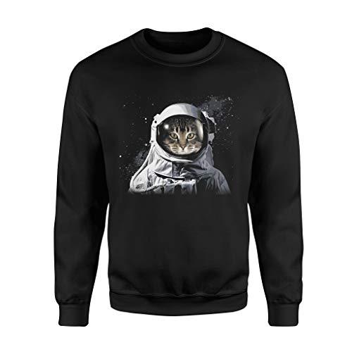Situen Catro.naut Cat Astro.naut Deep In Space Cosmic Graphic - Standard Fleece Sweatshirt - Front Print Sweatshirt for Men and Woman.