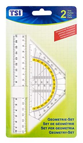 TSI 46303 Geometrie-Set (Lineal 17 cm und Geo-Dreieck 16 cm)