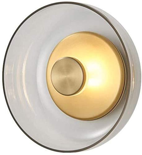 YONGYONGCHONG Lámpara de pared moderna lámpara de pared sala de estar dormitorio lámpara de noche pasillo creativo cobre lámpara de cristal 23 * 9 * 23 (cm) iluminación
