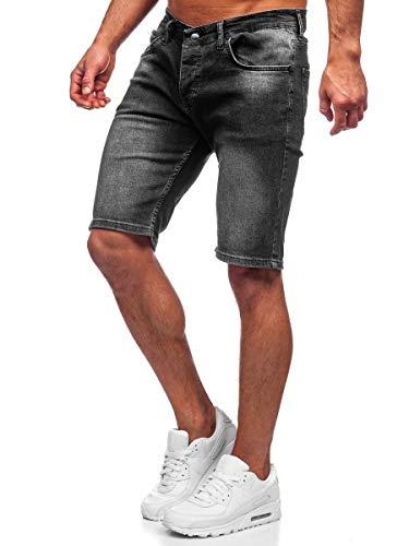 BOLF Hombre Pantalón Corto Vaquero Pantalones Vaqueros Denim Shorts Pantalón de Algodón Sombreado Estilo Diario RWX 3031Negro L [7G7]