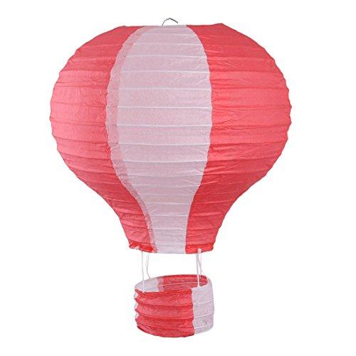 sourcingmap® Papier Lichtlos Hängende Dekor Heißluft Ballon Laterne rot weiß 10 Inch Dmr DE de