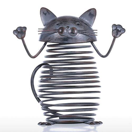 Zjcpow Figura decorativa de metal con forma de gato y corcho, diseño de gato de hierro, ideal para regalo de oficina