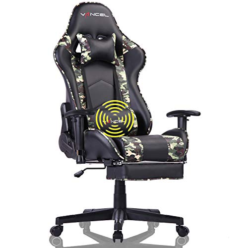 Gaming Chair for Adults Computer Chair Massage Gaming Chair with Footrest High Back Ergonomic Adjustable Racing Chair Executive PC Chair with Headrest and Lumbar Support