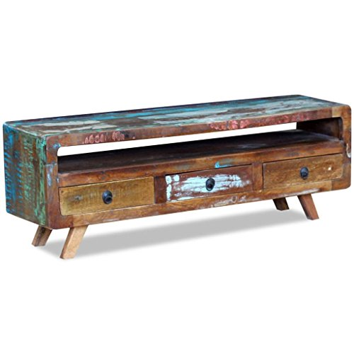 vidaXL TV Media Cabinet Stand with 3 Drawers Solid Reclaimed Recycled Wood Home Decor