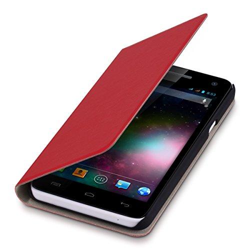 kwmobile Hülle kompatibel mit Wiko Rainbow 3G / 4G - Kunstleder Handy Schutzhülle - Flip Cover Case Rot