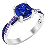Dazzlingrock Collection 6 mm Cushion Lab Created Blue Sapphire & Natural Round Blue Sapphire & Amethyst Ladies Swirl Engagement Ring, Sterling Silver, Size 10