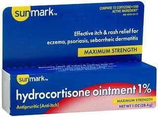 Sunmark Hydrocortisone Ointment 1% Sacramento Mall Maximum Aloe Award-winning store - With Strength