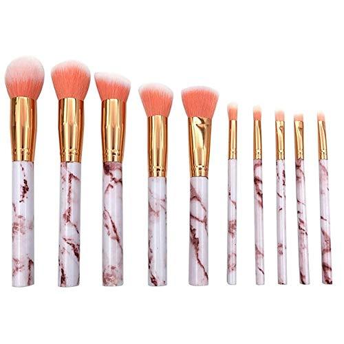 Brosse de maquillage Set Jeu de pinceaux de maquillage en plastique marbré, ensemble de pinceaux 10PCS Foundation Cosmétiques Set Brosses